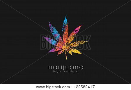 marijuana leaf logo. color marijuana logo. drug logo. creative logo design.