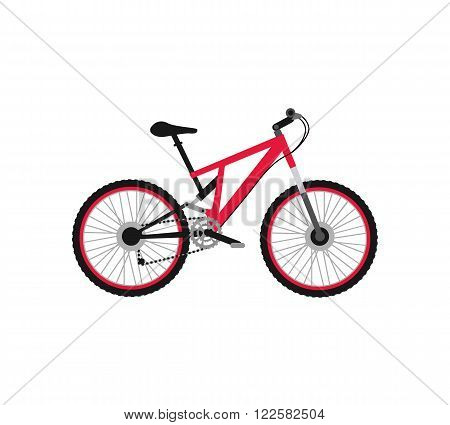 Bicycle icon design flat isolated. Bike and red bycicle, cycling race sport. Mountain bicycle, travel bicycle vector illustration