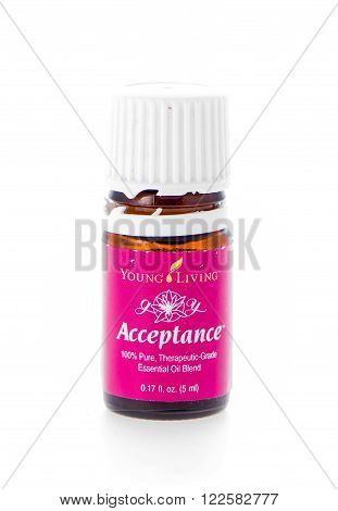 Winneconne WI - 19 February 2015: Bottle of Young Living Acceptance essential oil supplement.
