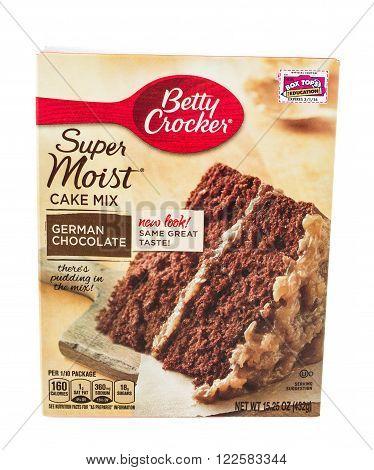Winneconne WI - 5 February 2015: Box of Betty Crocker German Chocolate Cake Mix.