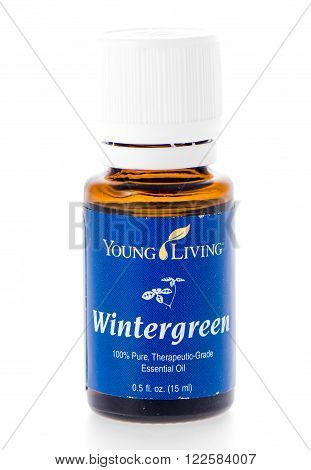 Winneconne WI - 19 February 2015: Bottle of Young Living Wintergreen essential oil supplement.