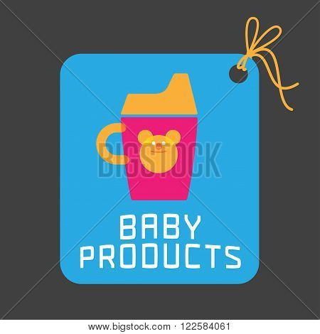 Baby products vector logo tag. Emblem with cute sippy bottle for a shop company or product. Design element for advertising materials