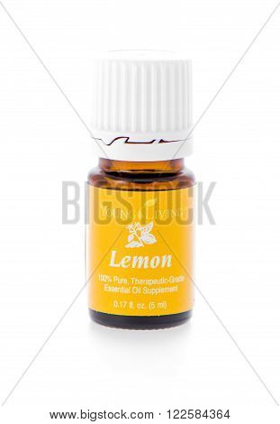 Winneconne, WI - 19 February 2015: Bottle of Young Living Lemon essential oil supplement.