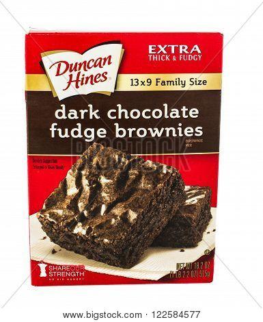 Winneconne WI - 5 February 2015: Box of Duncan Hines Dark Chocolate Fudge Brownies Mix.