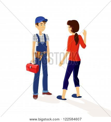 Character plumber and housewives. Plumbing working, character worker, occupation maintenance plumber engineer, profession mechanic plumber service vector illustration
