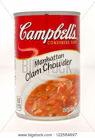 Winneconne, WI - 21 Nov 2015: A can of Campbell's Manhattan clam chowder soup