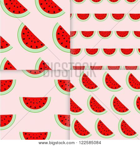 Colorful seamless patterns of watermelon slices. Vector illustration of summer sliced melon fruits. Eco food illustration.