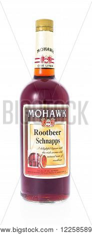 Winneconne WI - 21 February 2015: Bottle of Mohawk Rootbeer Schnapps alcohol beverage