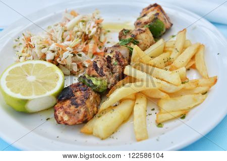 Souvlaki portion with french fries and salad