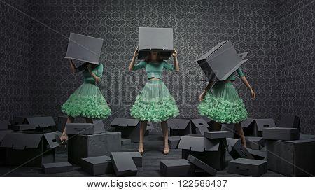 Fine art photo collage of three fashionable women