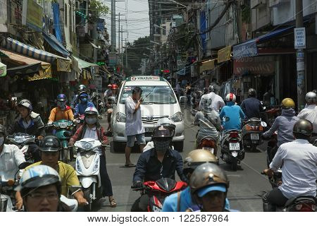 Saigon (Ho Chi Minh) - April 24: Traffic on the streets of Saigon (Ho Chi Minh City) Vietnam April 24 2014 in Saigon