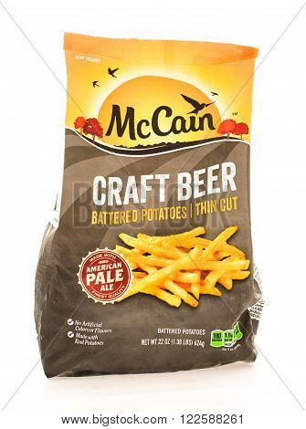 Winneconne WI - 18 August 2015: Bag of McCain craft beer battered french fries.