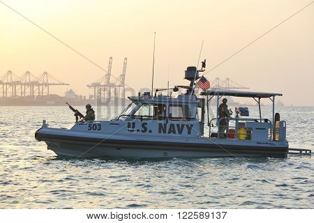 GULF OF ADEN, DJIBOUTI FEBRUARY 06, 2016: US NAVY inshore security patrolling in port of Djibouti