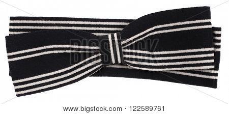 Hair bow tie black with white stripes