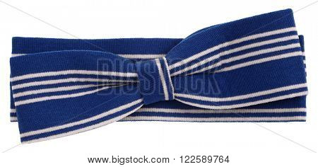 Hair bow tie blue with white stripes