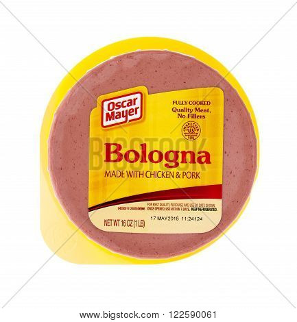 Winneconne WI 9 April 2015: Package Oscar Mayer Bolagna lunch meat.