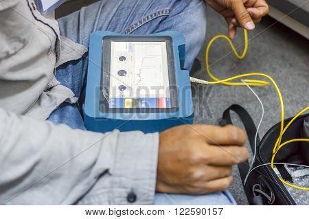 Photo of a fiber optic cable testing