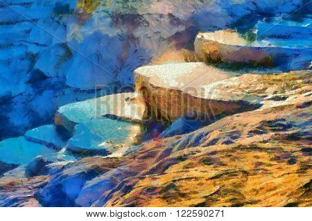Image in painting style of a View of Pamukkale Turkey