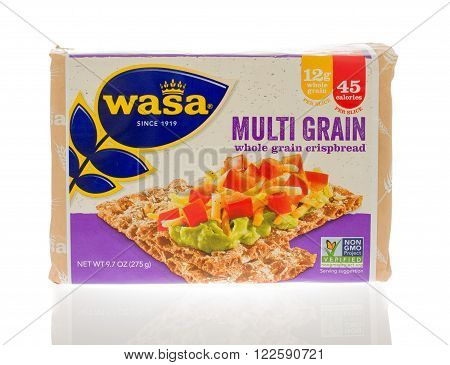 Winneconne WI - 18 Nov 2015: Package of Multi grain crispbread made by Wasa.