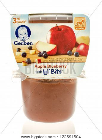 Winneconne WI - 19 Nov 2015: Package of Gerber apple blueberry with lil' bits baby food.