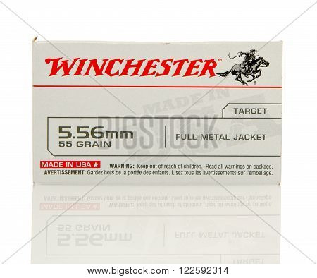 Winneconne WI - 10 Jan 2016: Box of Winchester 5.56 x 45mm Nato full metal jacket rounds.