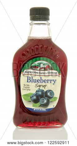 Winneconne WI - 24 Dec 2015: Bottle of blueberry syrup made by Maple Grove Farms of Vermont