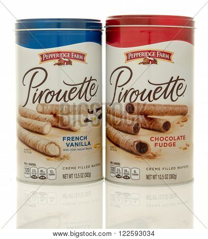 Winneconne WI - 24 Dec 2015: Containers of Pepperidge Farm Pirouette in both French vanilla and chocolate fudge flavors.