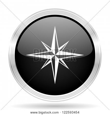 compass black metallic modern web design glossy circle icon