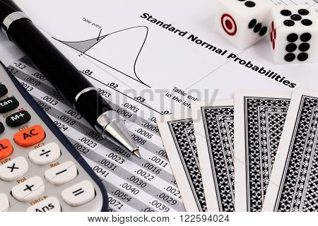 Card Game, Calculator, Dice And Pen On Standard Normal Probalilities Table.