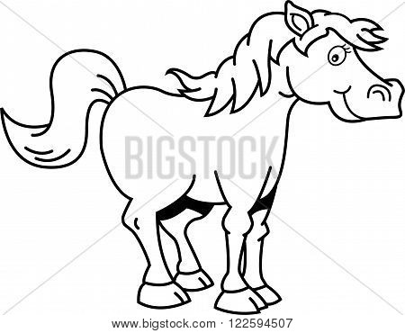 Black and white illustration of a happy horse.