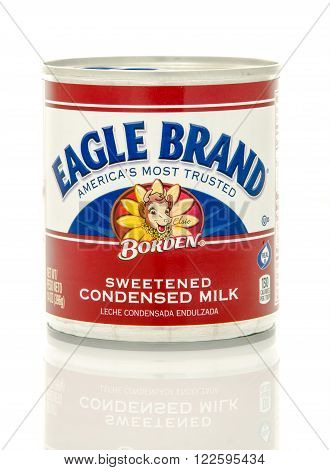 Winneconne WI - 24 Dec 2015: Can of sweetened condensed milk made by Borden with the new design