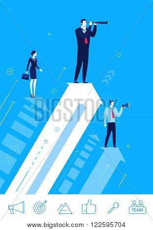 Flat design vector concept illustration. Teamwork. Searching for opportunities. Choose the right path. Vector clipart. Icons set.