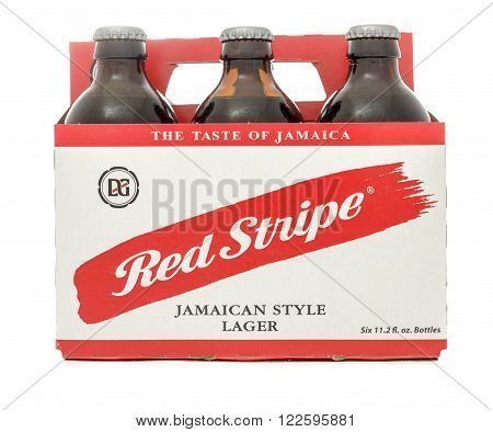 Winneconne WI -29 Oct 2015: Six pack of Red Stripe beer.