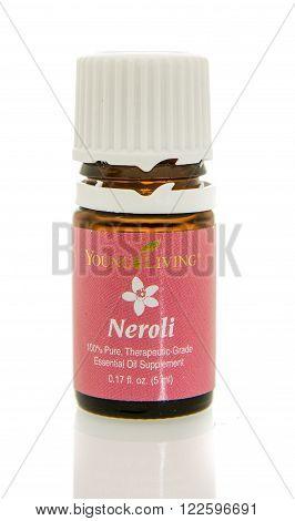 Winneconne WI - 10 Feb 2016: Bottle of Young Living neroli oil.