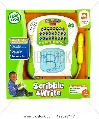 Winneconne WI - 22 Dec 2015: Package of a learning tool for kids to learn how to write by tracing the letter or number made by LeapFrog.