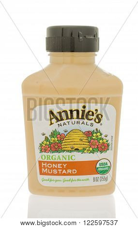 Winneconne WI - 19 Feb 2016: Bottle of Annie's organic honey mustard