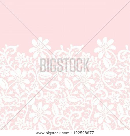 Wedding invitation or greeting card with lace border on pink background