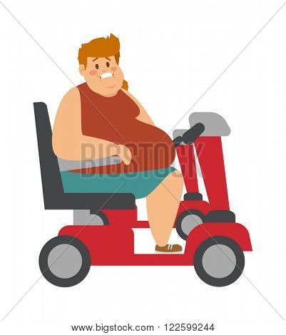 Concept fitness weight loss fat man and thin sports guy, fatman on a diet with fat people transportation truck. Fat man on trolley for fat people next to thin, athletic man cartoon character vector.