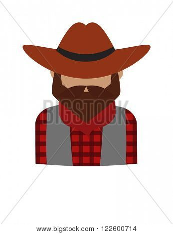 Dangerous criminal bearded man and dangerous flat criminal man in hat vector. Bearded dangerous criminal man cartoon character vector illustration. Danger gangster person icon, western crime