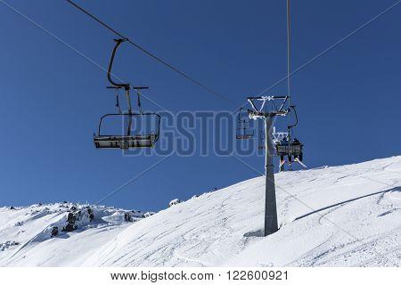 Ski Lift In The Mountain