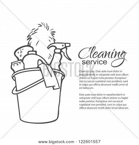 Cleaning services. Hand drawn spray and dust collector, rag, sponge. Cleaning homes and offices. Bucket with cleaning cleaners. Black and white painted bucket. Easy cleaning. Vector illustration poster