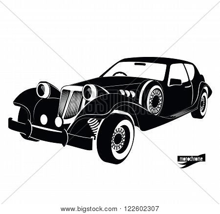 Monochrome retro car, front view black auto silhouette, luxury vintage automobile on white background, hand drawing style for design card, banners, flyer, print. car rental for driving in the city.