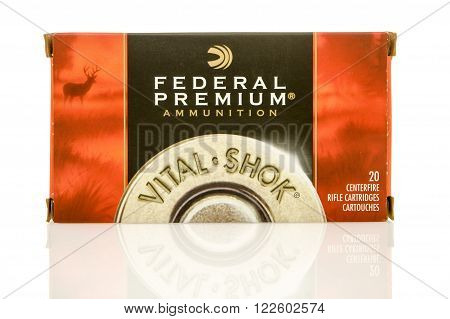 Winneconne WI - 10 Jan 2016: Box of Federal Primium 308 full metal jacket rounds.