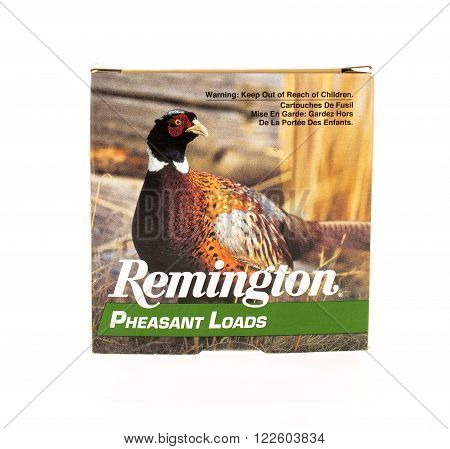 Winneconne, WI - 20 April 2015: Box of pheasant load shotgun shells made by Remington.