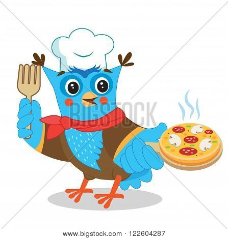 Owl Chef With Pizza. Cute Image On A White Background. Funny Owl. Cartoon Vector Illustrations. Owl Picture. Owl Memes. Owl Jokes. Owl Toy. Owl Sticker. Owl Costume. Pizza Joint. Pizza Maker.