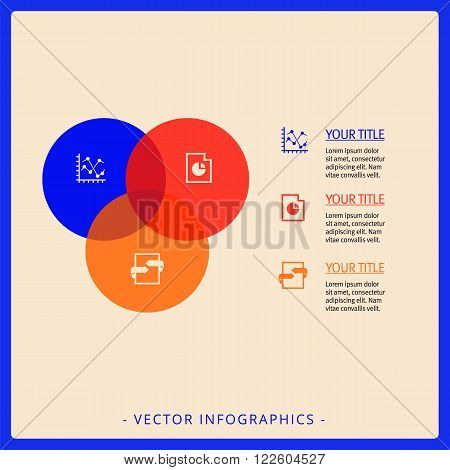 Editable infographic template of Venn diagram with icons, titles and sample text, multicolored version