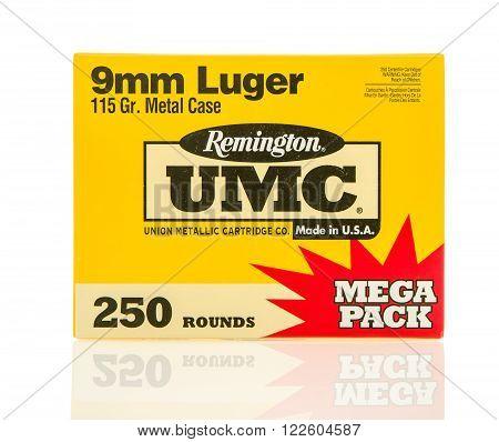 Winneconne, WI - 10 Jan 2016: Box of Remington 9mm full metal jacket rounds.