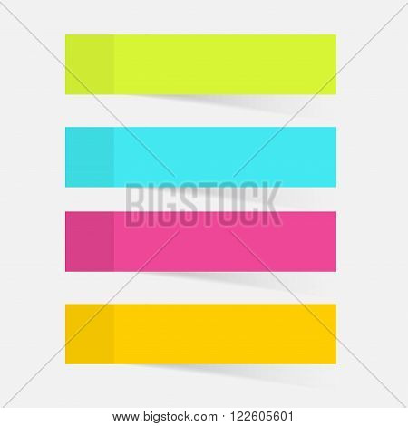 Color sticky notes set for business. Vector illustration.