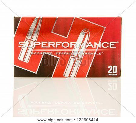 Winneconne WI - 10 Jan 2016: Box of Superformance 308 rounds.