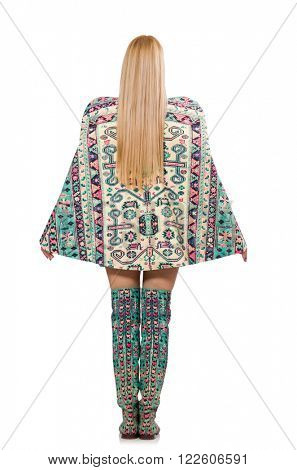 Woman in fashion concept isolated on whitModel wearing dress wit